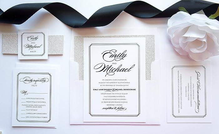 Amazon.com  Silver Glitter Wedding Invitation- SAMPLE SET  Handmade f11ce99b77d9