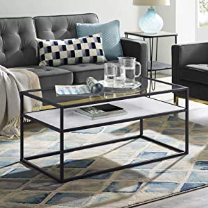 "WE Furniture AZ40SWICTWMDC Coffee Table, 40"", White Faux Marble/Dark Concrete"