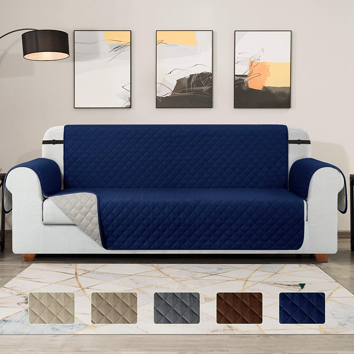 TOYABR Large Sofa Cover Reversible Couch Cover with Elastic Adjustable Strap Furniture Protector Fitted Seat Width Up to 54 Inch Sofa Slipcover Great for Home with Pets and Kids (Loveseat,Navy)