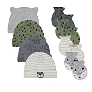JUST BORN Baby Boys' 8-Piece Cap and Mitten Bundle, Fox, Newborn