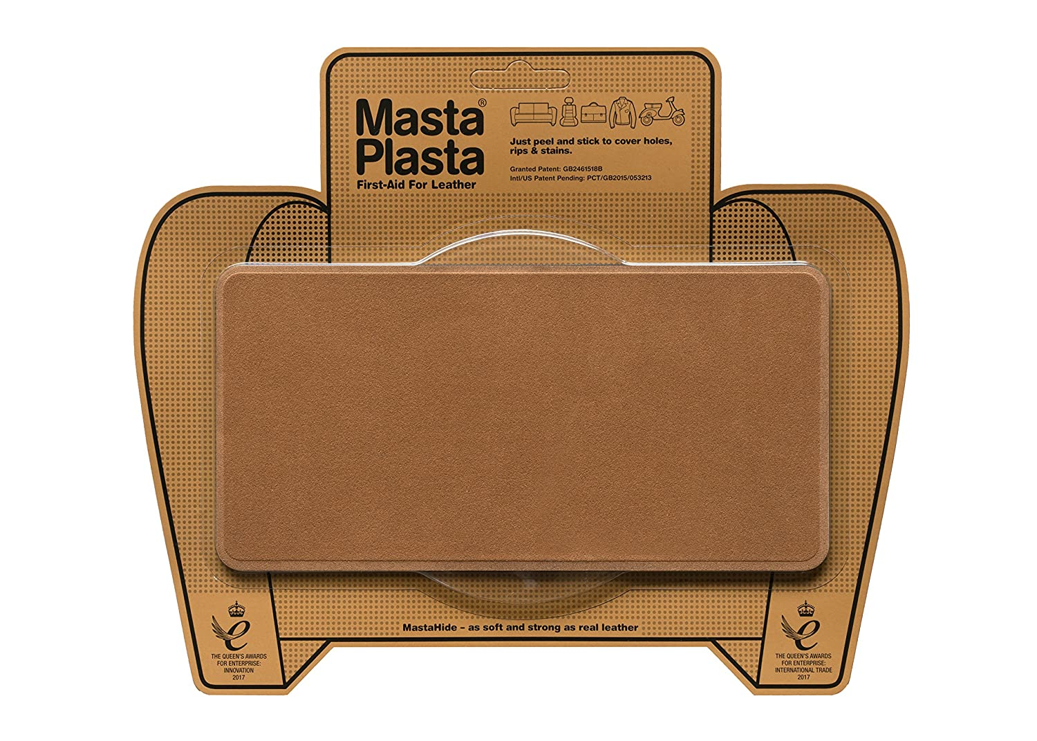 MastaPlasta Self-Adhesive Patch for Leather and Vinyl Repair, Large, Suede, Brown - 8 x 4 Inch - Multiple Colors Available