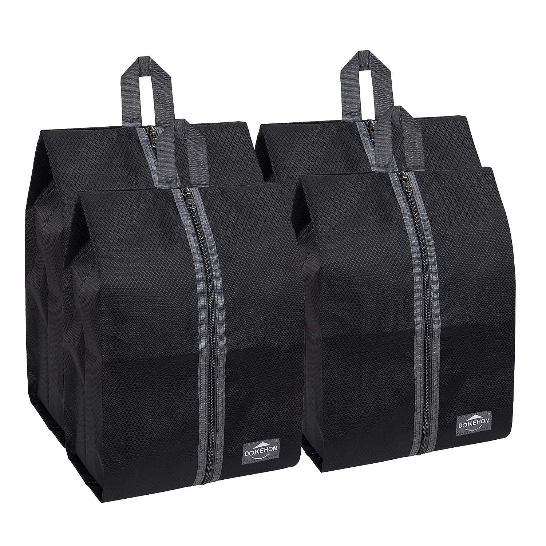 DOKEHOM Portable Multicolor Nylon Travel Shoe Storage Organizer Bag (8 Colors) Black) DKA3030BKG1