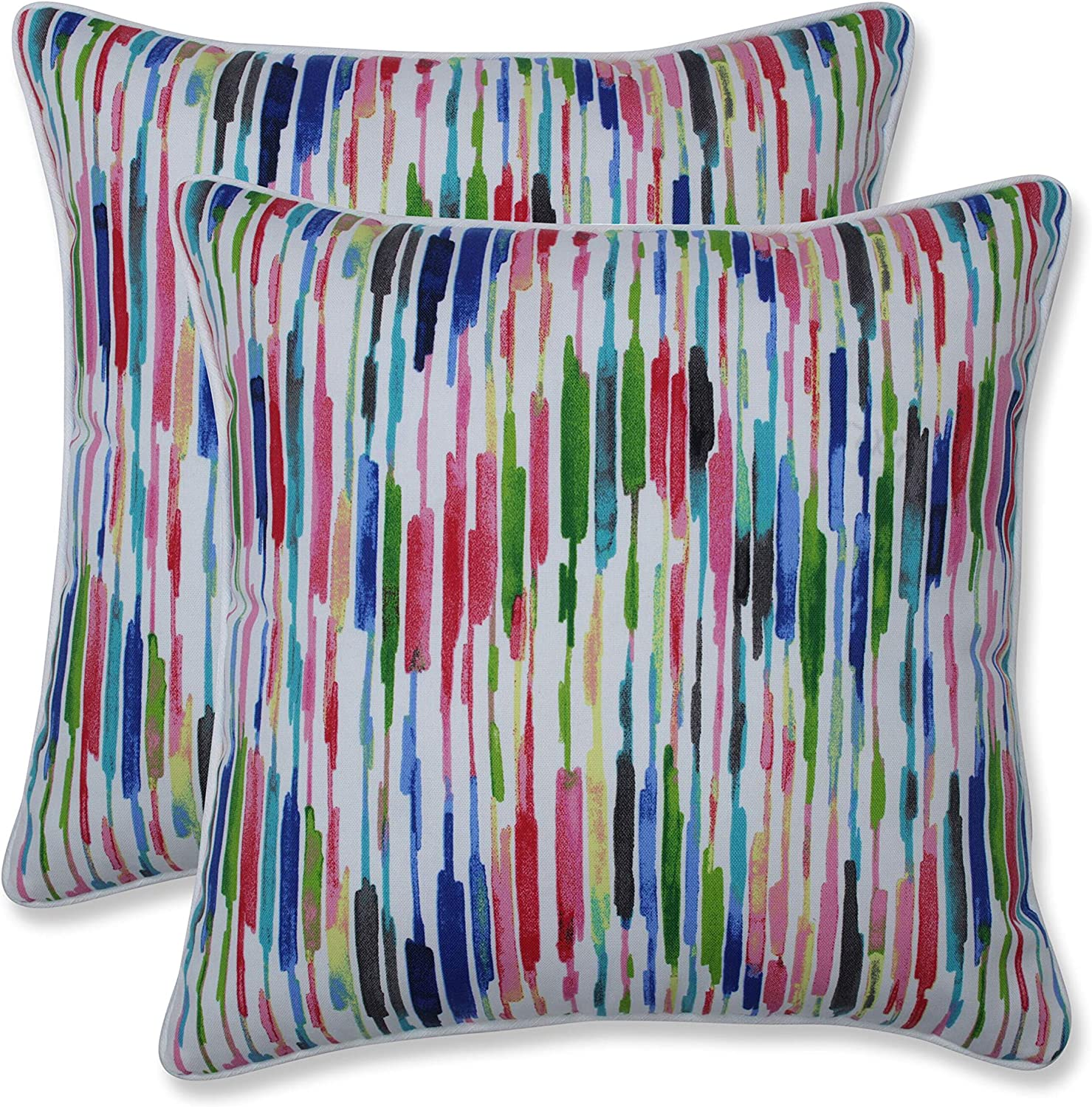 Amazon Com Pillow Perfect Outdoor Indoor Drizzle Summer Throw Pillows 16 5 X 16 5 Pink 2 Pack Home Kitchen