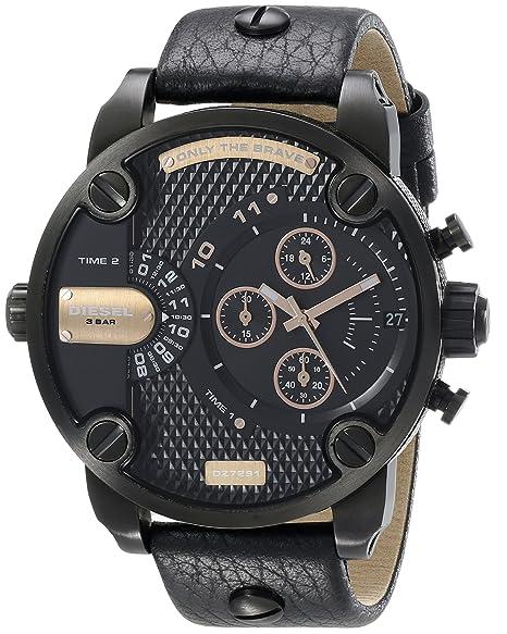 Diesel Little Daddy - Reloj de Cuarzo para Hombre, con Correa de Cuero, Color Negro: Diesel: Amazon.es: Relojes