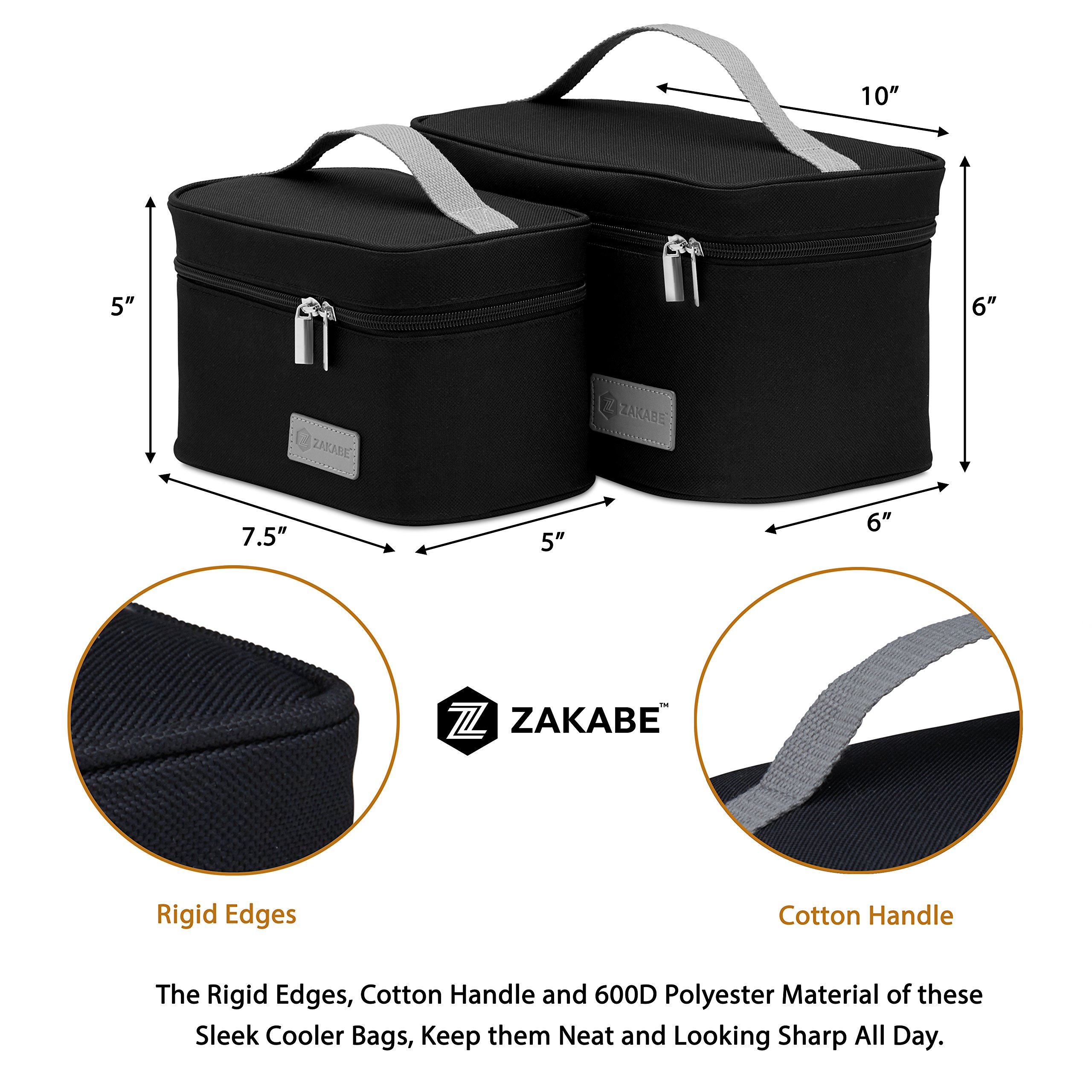 Zakabe Lunch Bag, Lunch Box, Cooler Bag, Set of 2 Sizes, Insulated, for Women, Kids, Adults, Men, Work or School - Black by Zakabe (Image #3)