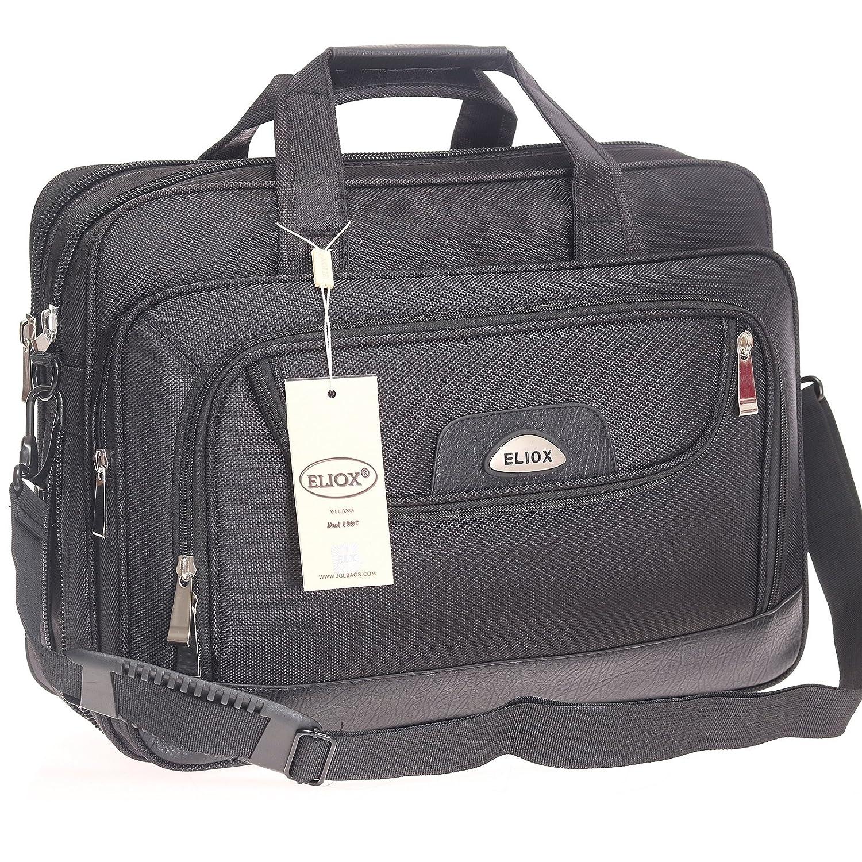Messenger Bag, Arbeitstasche, XL, Schultertasche, Umhängetasche, Tasche, Querformat, Schwarz, Herrentasche Umhängetasche ELX 8020