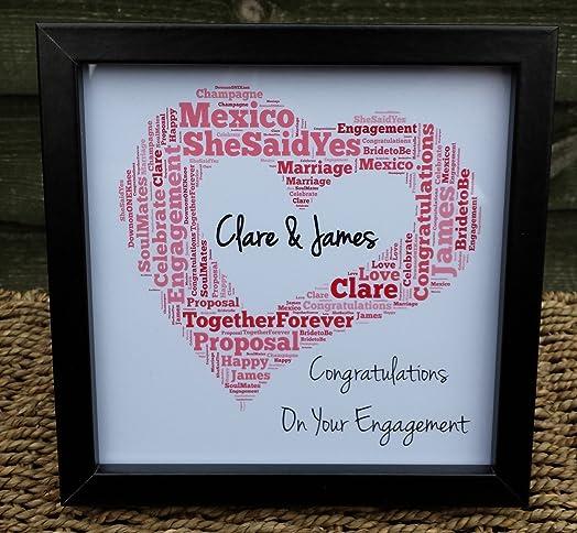 Personalised Wedding Gift Engagement Frame Word Art