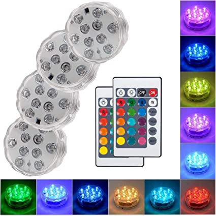 Submersible Led Lights with Remote - 2019 Underwater Led Lights - Waterproof Light Pad - Led Lights Battery Operated - Aquarium Lights Decorations - ...