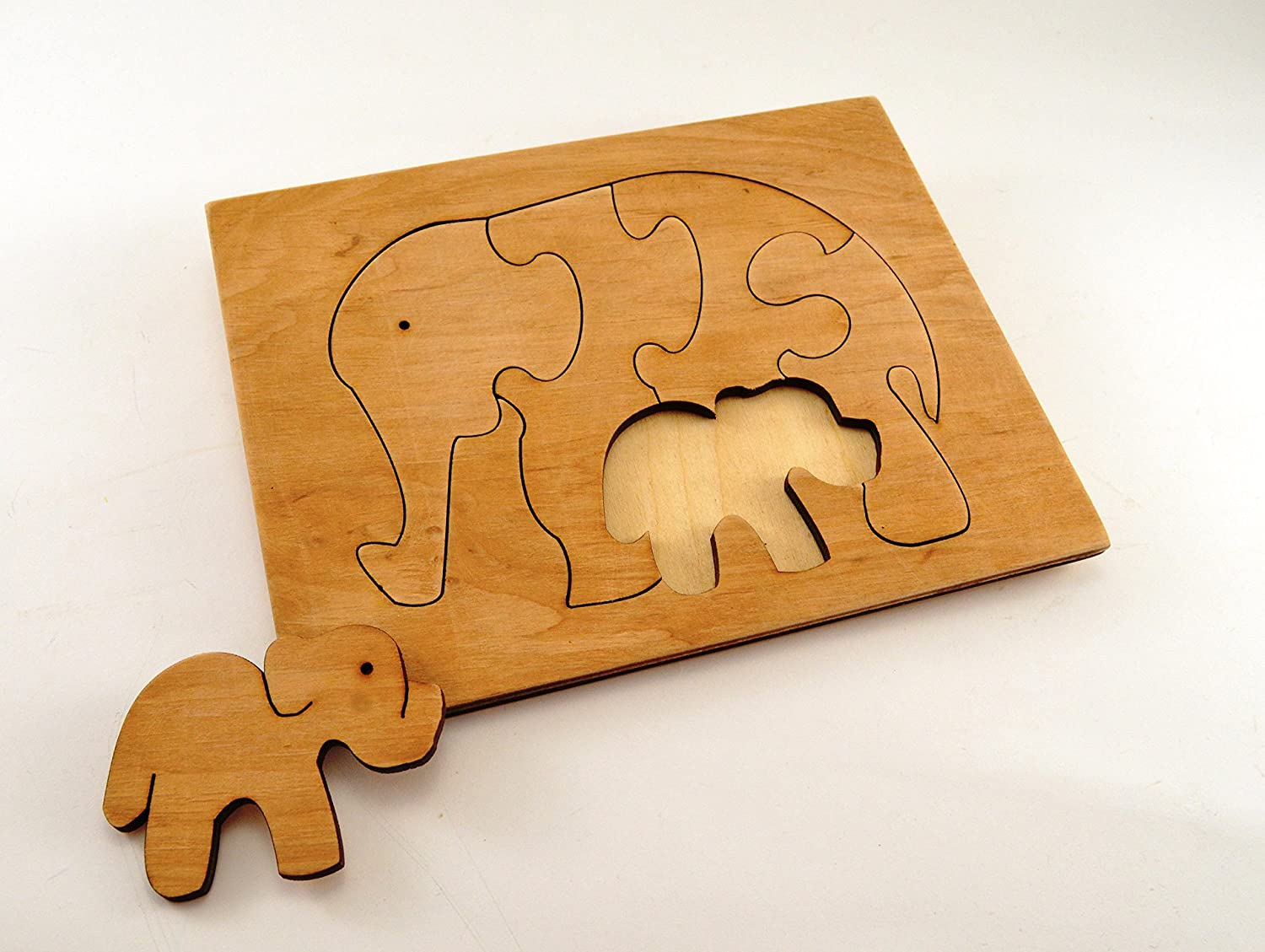 Wooden puzzle Wooden elephants Wooden animal gift Educational toys Animal puzzle Elephants family Toy for autism Baby gifts Gift 1st
