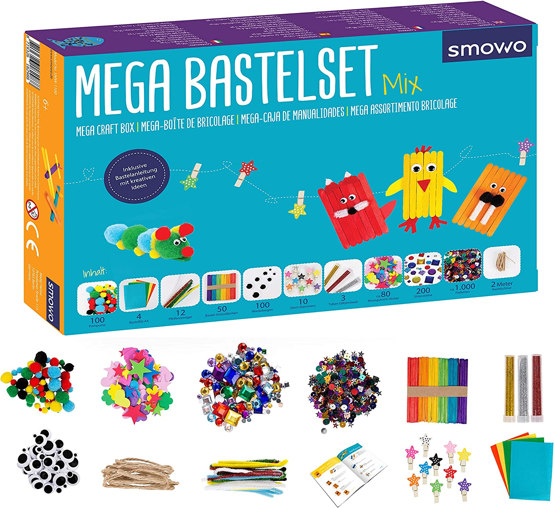 Smowo Mega Juego de Manualidades - Caja Material Manualidades - con Ideas para Juegos creativos - Kit Manualidades para niños y Adultos