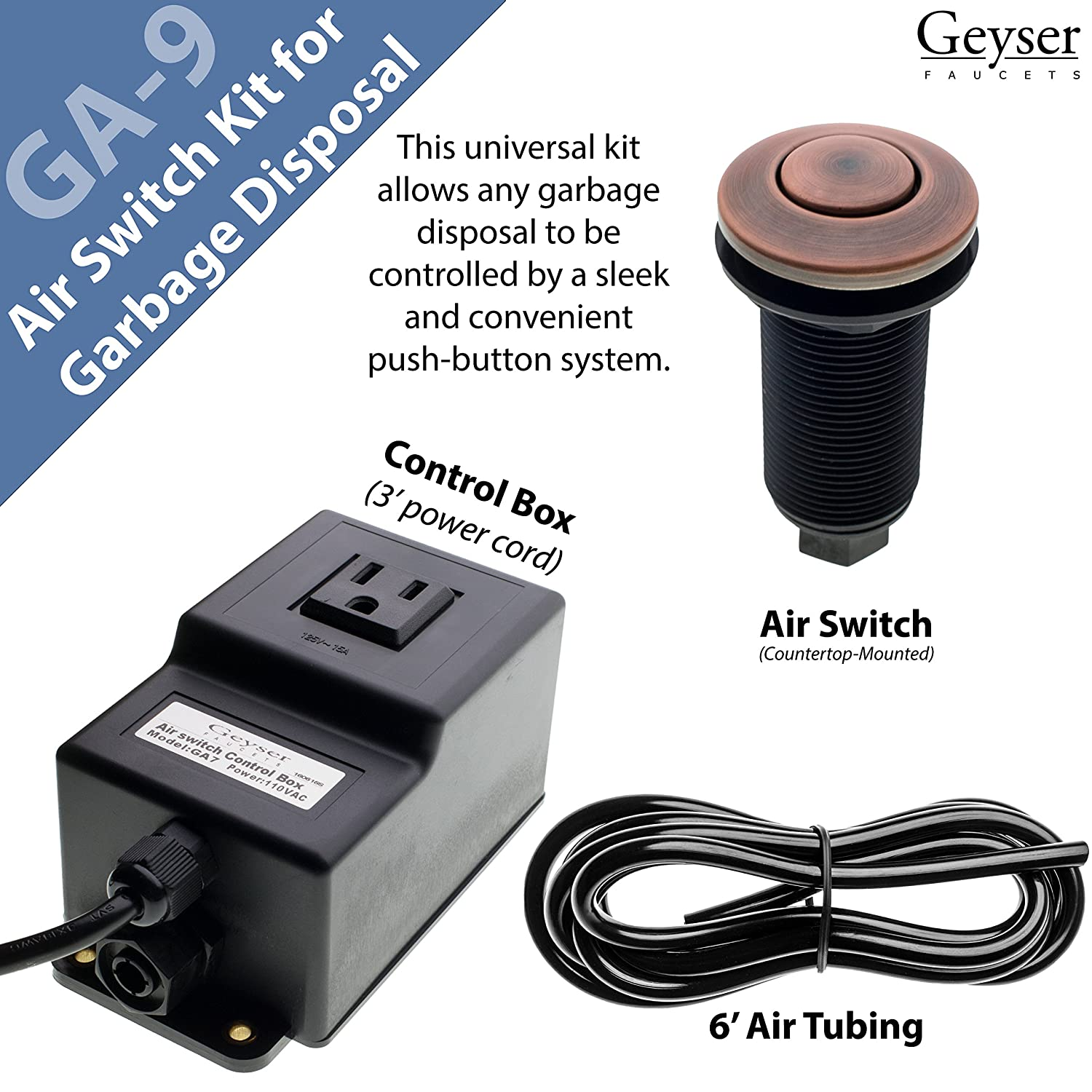 Single Outlet Sink Garbage Disposal Air Activated Switch By Geyser      Amazon.com