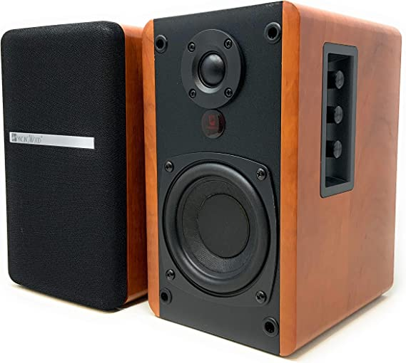 SINGING WOOD BT25 Powered Bluetooth Bookshelf Speakers- Studio Monitor Speakers -2 AUX Input - Remote Control - Wooden Enclosure - Max 50 Watts RMS(Cherry Wood)