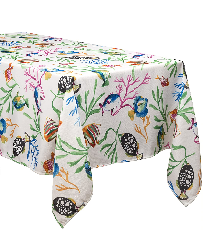 Benson Mills Catalina Tablecloth 52 X 70 Oblong White multi