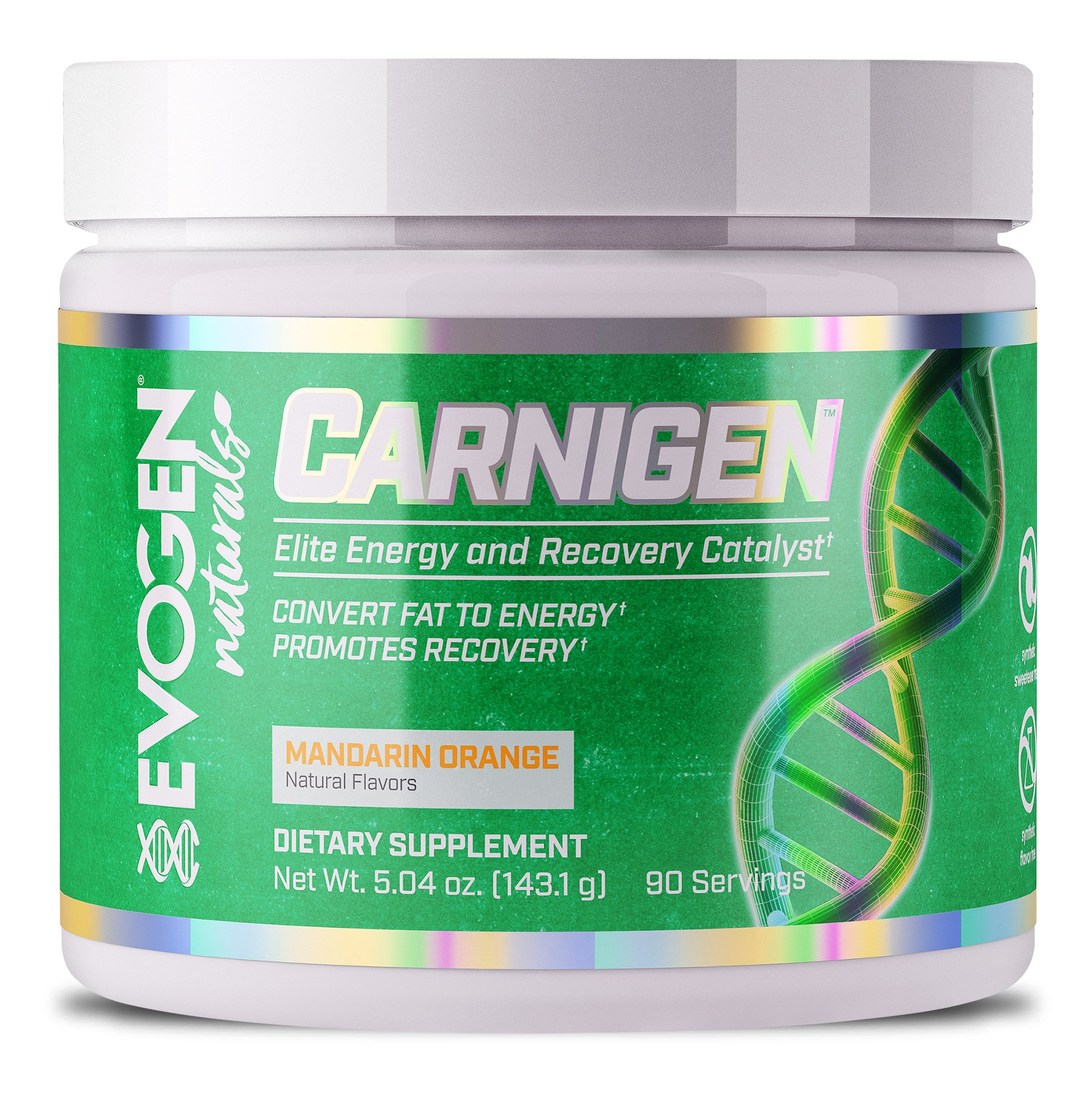 EVOGEN CARNIGEN Naturals, Carnitine Fat Burning Powder, Carnitine Tartrate, Acetyl-l-carnitine, Carnitine Orotate, Carnitine Fumarate, Bioperine (Mandarin Orange) by Evogen Nutrition