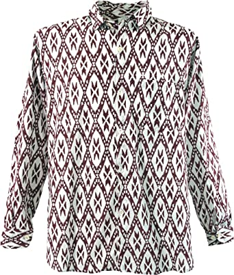 GURU-SHOP, Goa Hippie, Camisa de Hombre, Rojo, Algodón, Tamaño:M, Camisas de Hombre: Amazon.es: Ropa y accesorios
