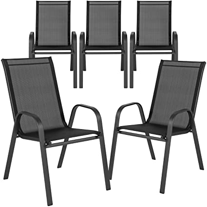 Strange Flash Furniture 5 Pk Brazos Series Black Outdoor Stack Chair With Flex Comfort Material And Metal Frame Machost Co Dining Chair Design Ideas Machostcouk