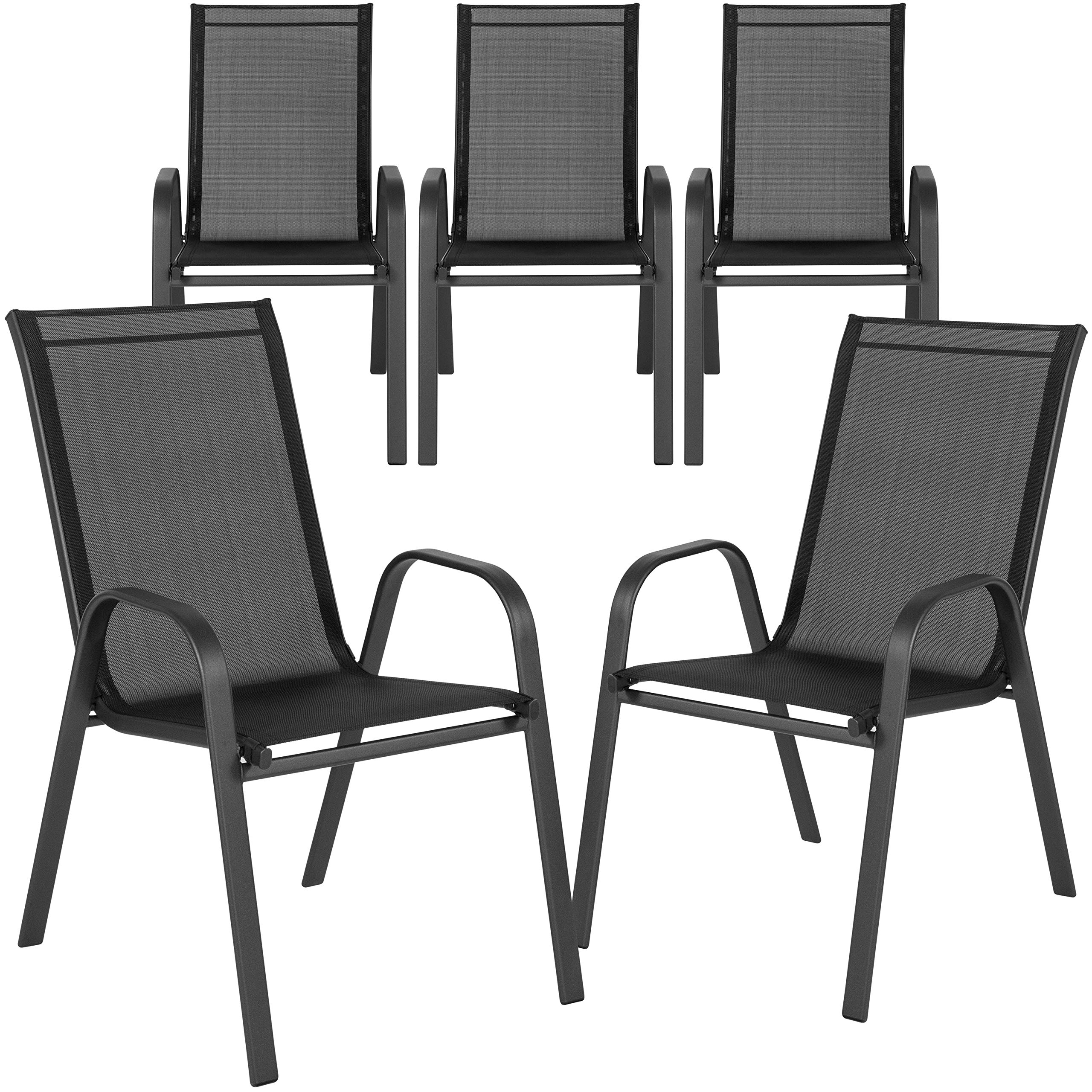 Flash Furniture 5 Pk. Brazos Series Black Outdoor Stack Chair with Flex Comfort Material and Metal Frame