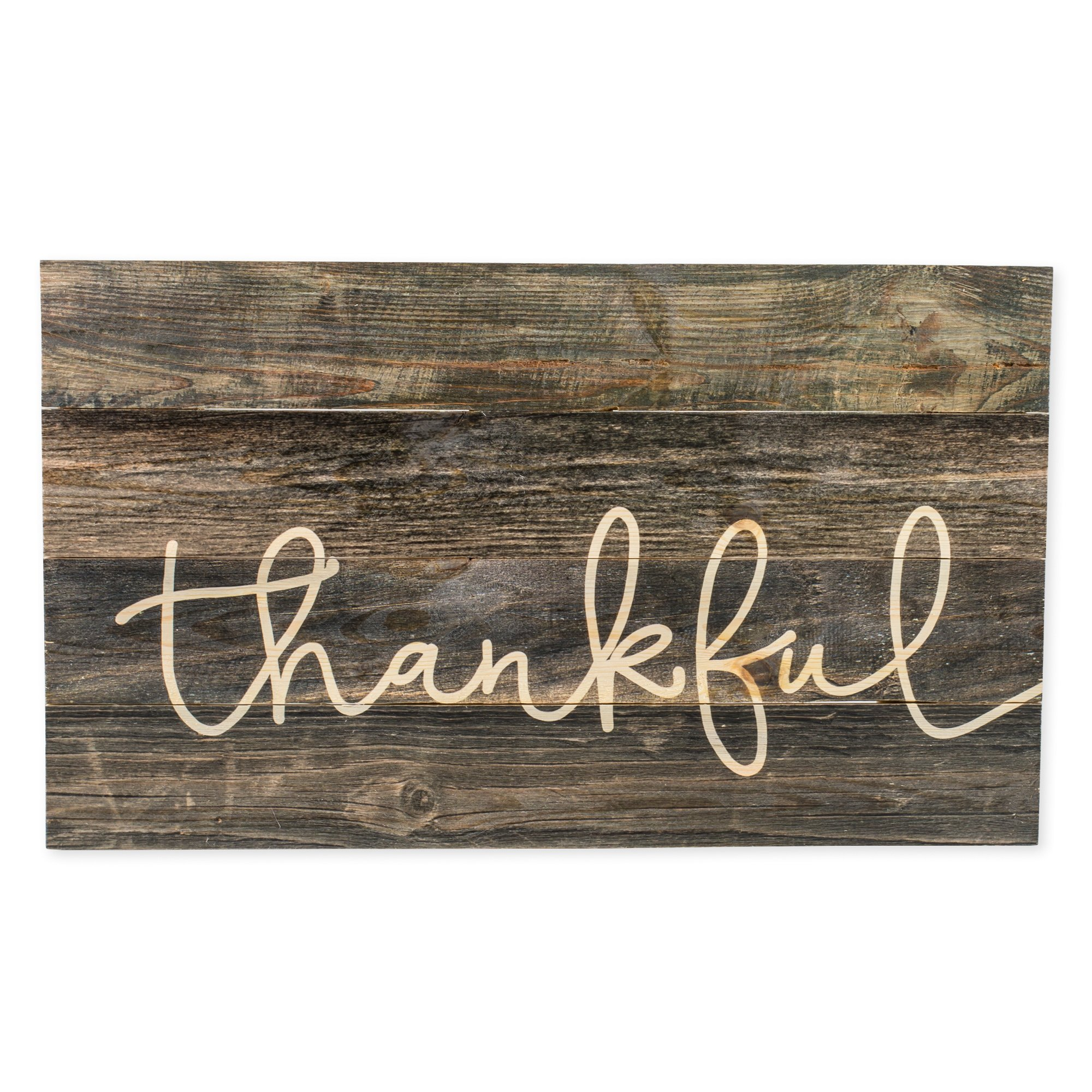 Thankful Grey Distressed 24 x 14 Inch Pine Wood Pallet Decorative Hanging Wall Plaque