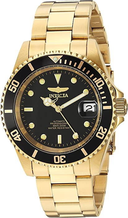Invicta Men s 8929OB Pro Diver Analog Display Japanese Automatic Gold Black  Watch f40cdaa5861
