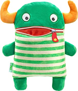 Schmidt Spiele Pat Monstruo Verde, Color Blanco, Amarillo - Juguetes de Peluche (Monstruo