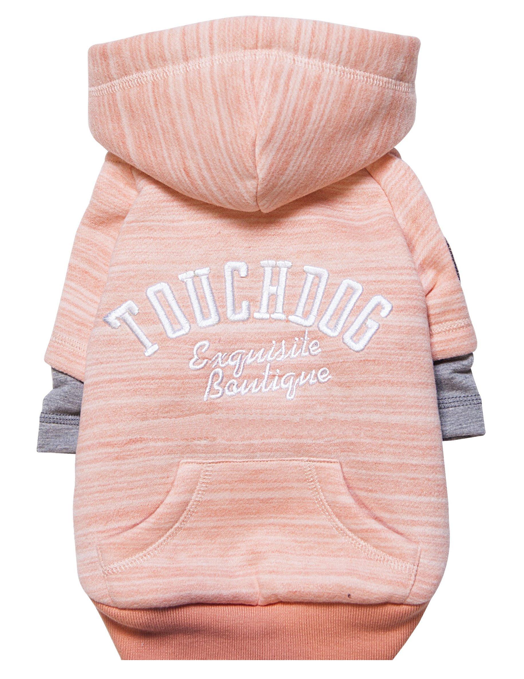 touchdog Hampton Beach' Designer Fashion Ultra-Plush Sand Blasted Pet Dog Hooded Sweater Hoodie, Large, Pink