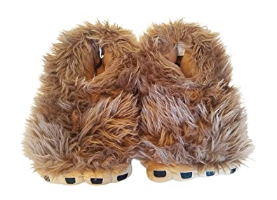 62fb1b7d7db6 George Bigfoot Sasquatch Hairy Slippers for Men (Shoe Size 7-8) Brown