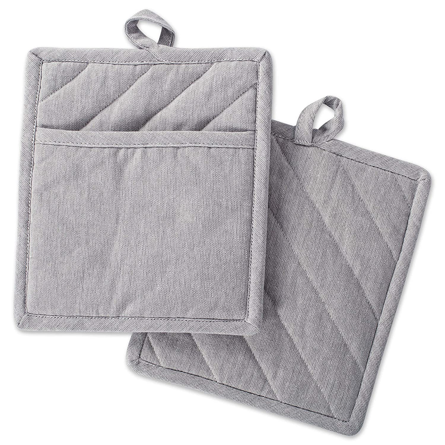CC Home Furnishings Set of 2 Gray Chambray Solid Patterned Potholders 9""