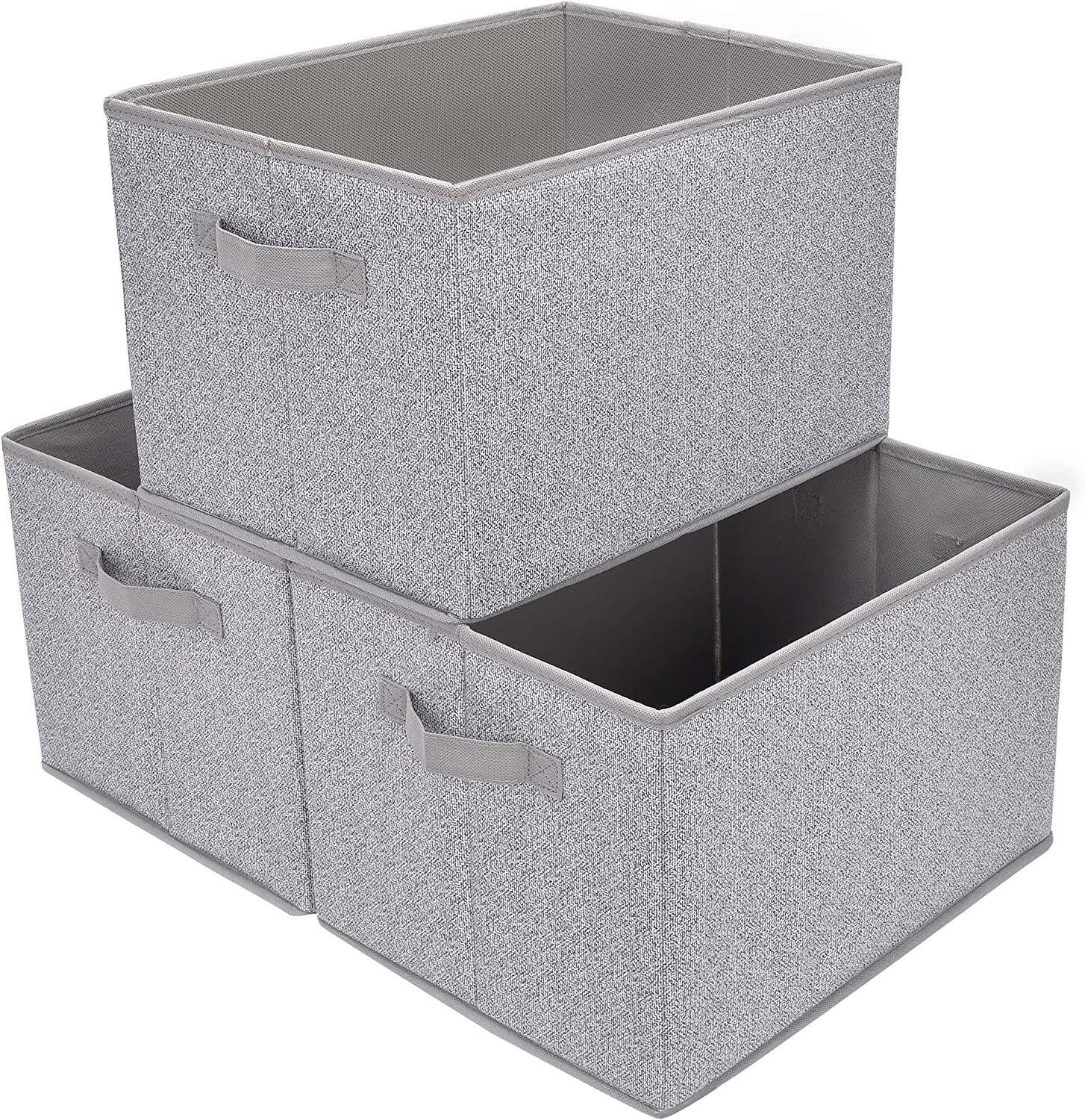 GRANNY SAYS Storage Basket for Shelves, Fabric Closet Storage Bins Cube Box with Handle Home Office Fabric Organizer, Jumbo, Gray, 3-Pack