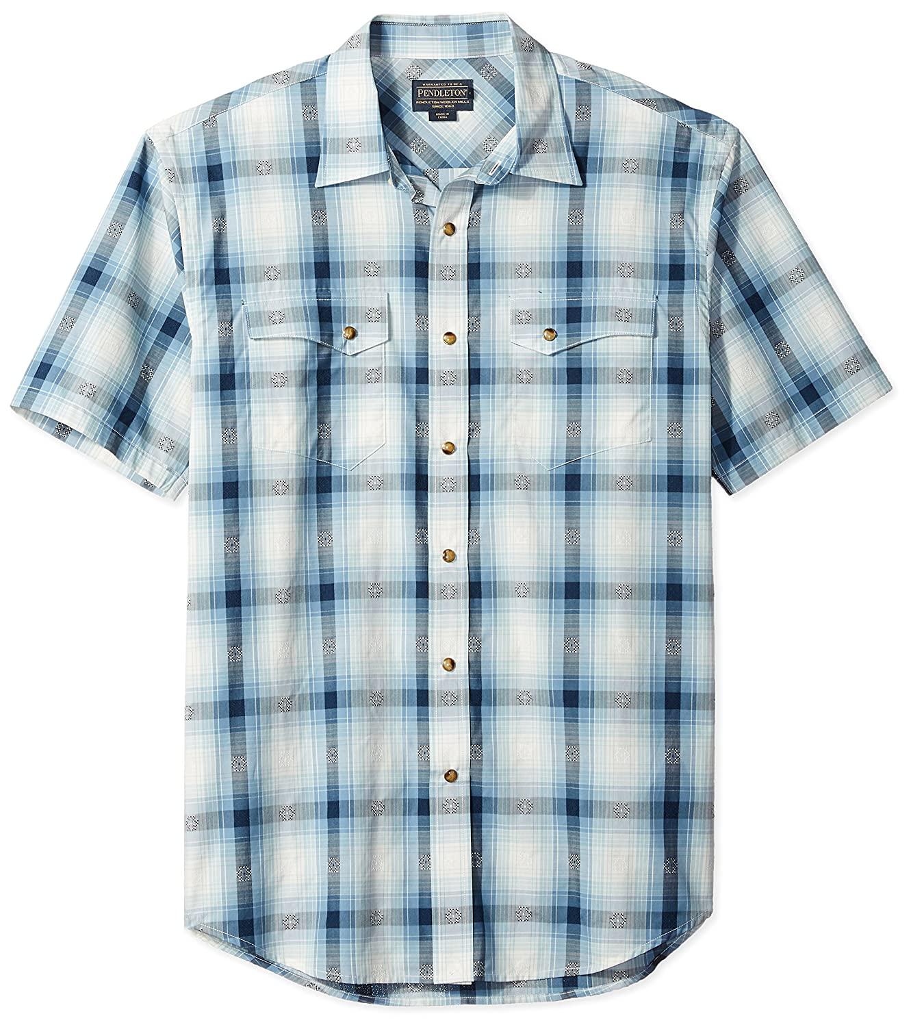 b91be040f3 Short sleeve woven snap down shirt with western styling and a new diamond  plaid. Snap front closure. Bias cut front and back yokes, pockets and  pocket flaps