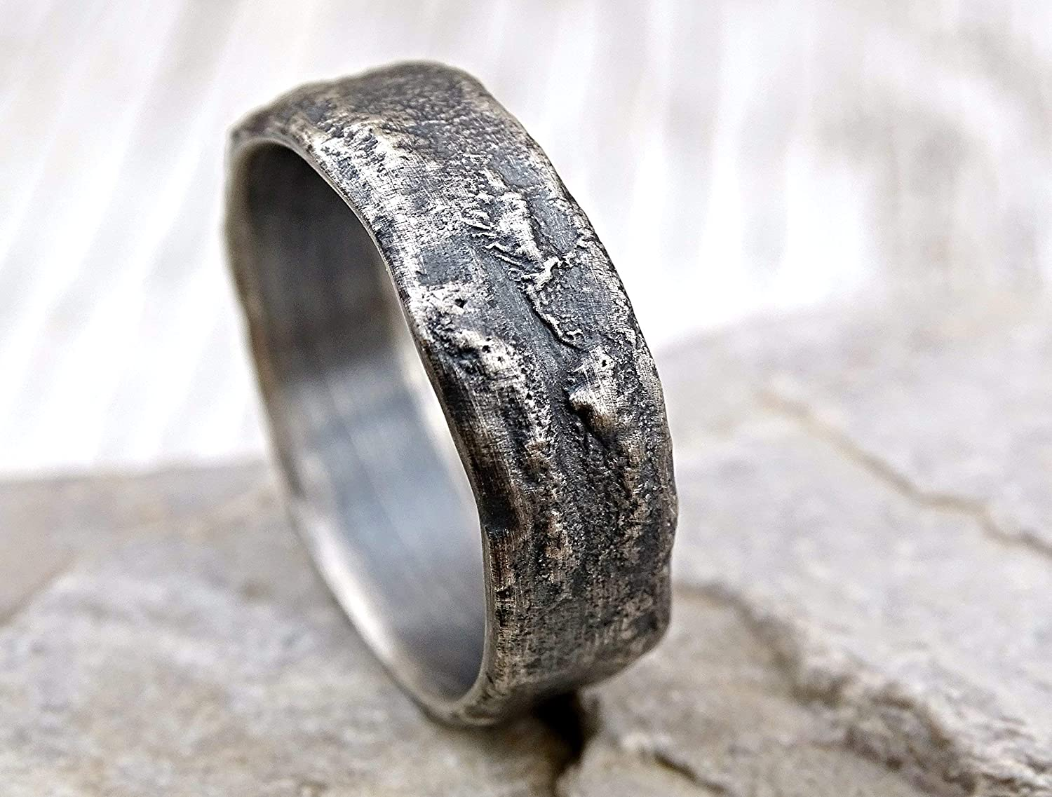 Amazon.com: Molten Silver Ring Rich Structure, Mens Wedding Ring