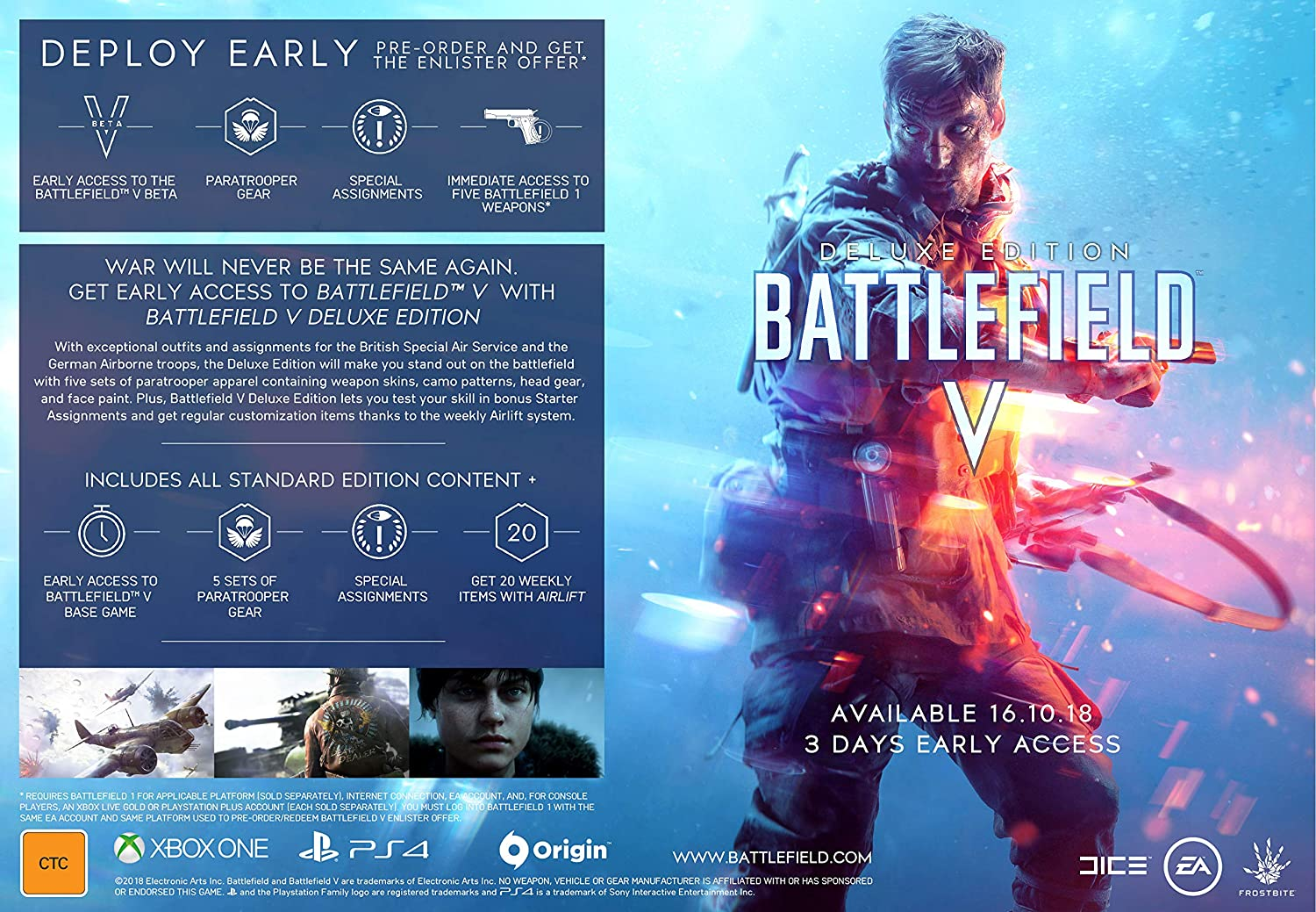 Battlefield V Deluxe Edition (PlayStation 4): Amazon com au: Video Games