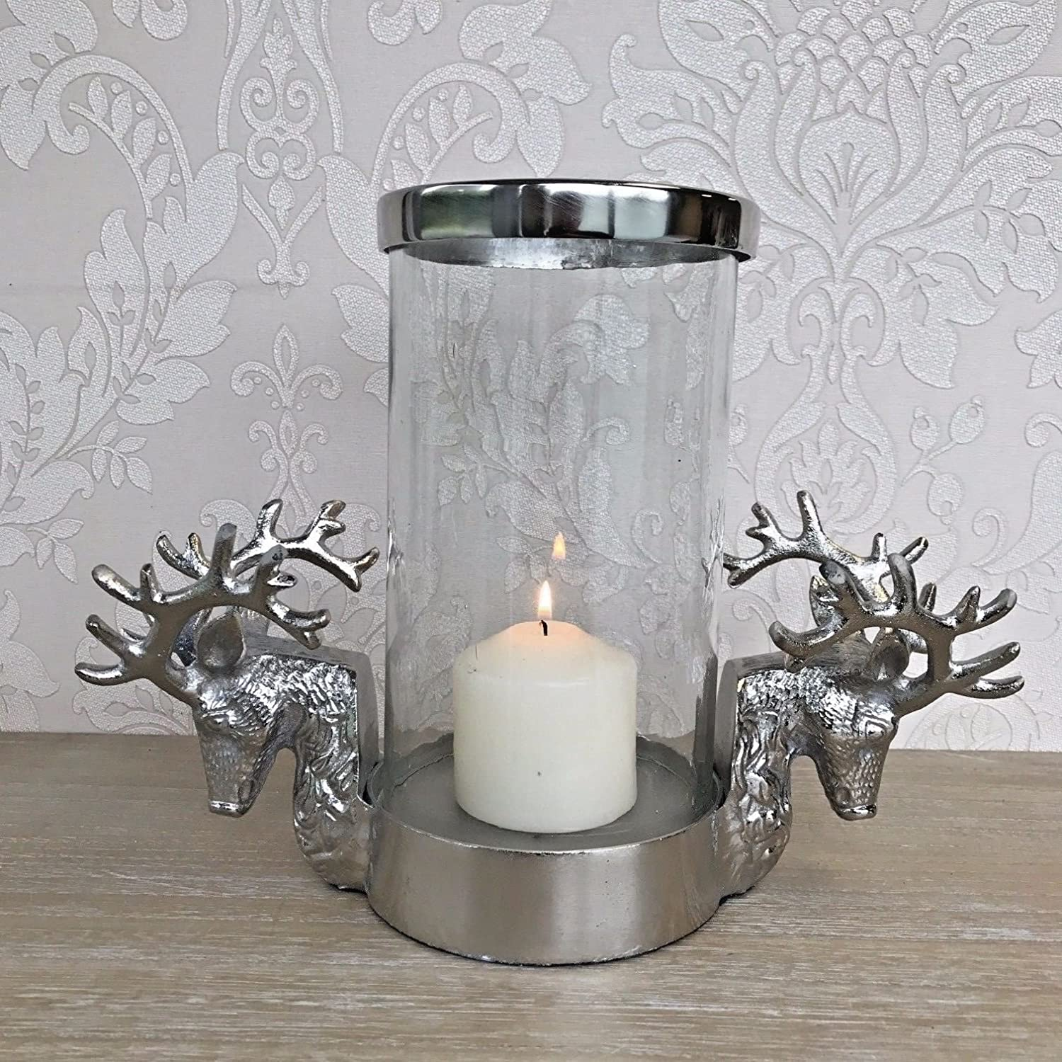 Oscar's Boutique Stag Head Antler Candle Holder Glass Shabby Chic Vintage Style Home Gift Oscar's Boutique