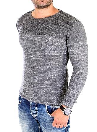 hot sale online 2b5a9 44699 Reslad Strickpullover Herren-Pullover Melange Colorblock Rundhals  Strick-Pulli RS-3124