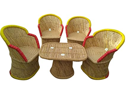 Ecowoodies Cane Mudda Outdoor Garden Chair for Balcony/Terrace / Lawn/Home and Living Room(4+1)