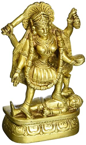 Goddess Kali Sculpture Brass Figurine of Devi Kali BS0120 6.25 H x 3.50 W Gold