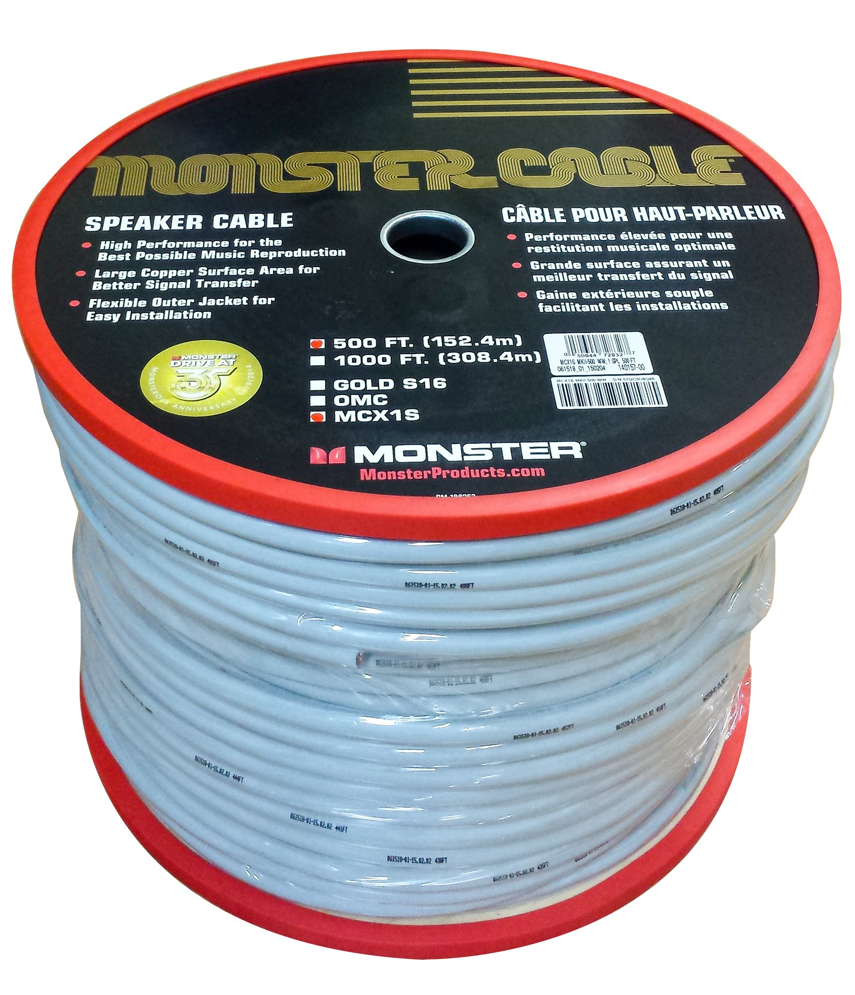 Monster Cable MCX1S MKII-500 M Series Speaker Wire 500 ft Spool