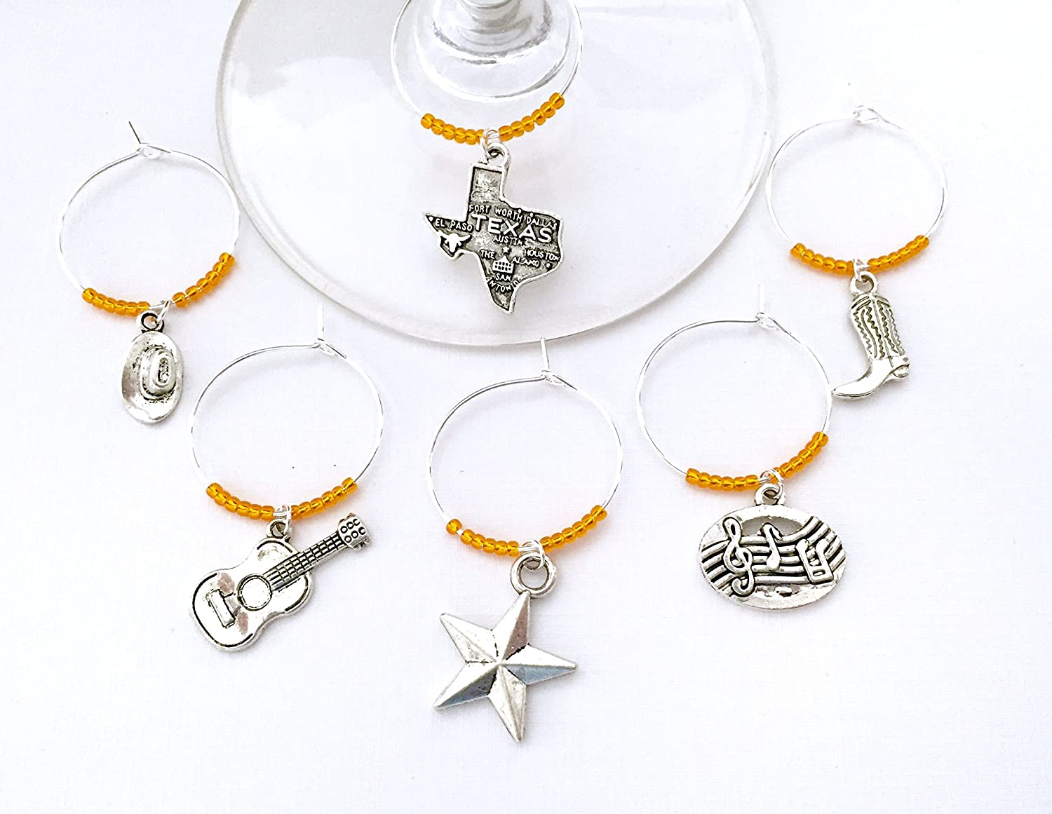Cowboy Hat ORANGE BEADS. Guitar Set of 6 Austin Texas Wine Charms and Texas Star Charms include Texas Charm Inspired by Austin Music and Country scene Cowboy Boots Music Notes