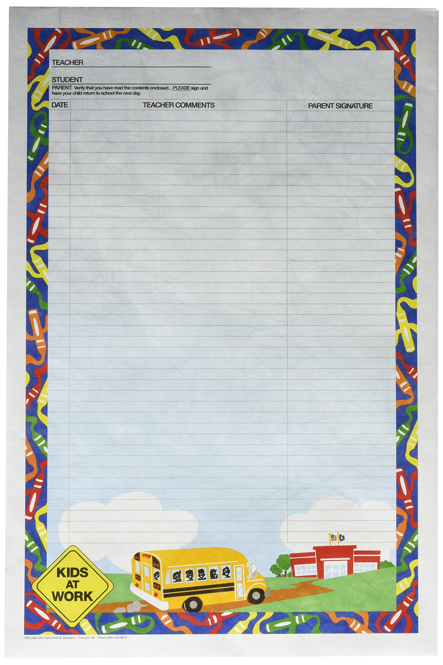 Hammond & Stephens 082125 Kids at Work Reusable School and Homework Envelope, 10'' x 15'' Size, 2'' Height, 8.5'' Width, 11'' Length, Tyvek (Pack of 100) by Hammond & Stephens