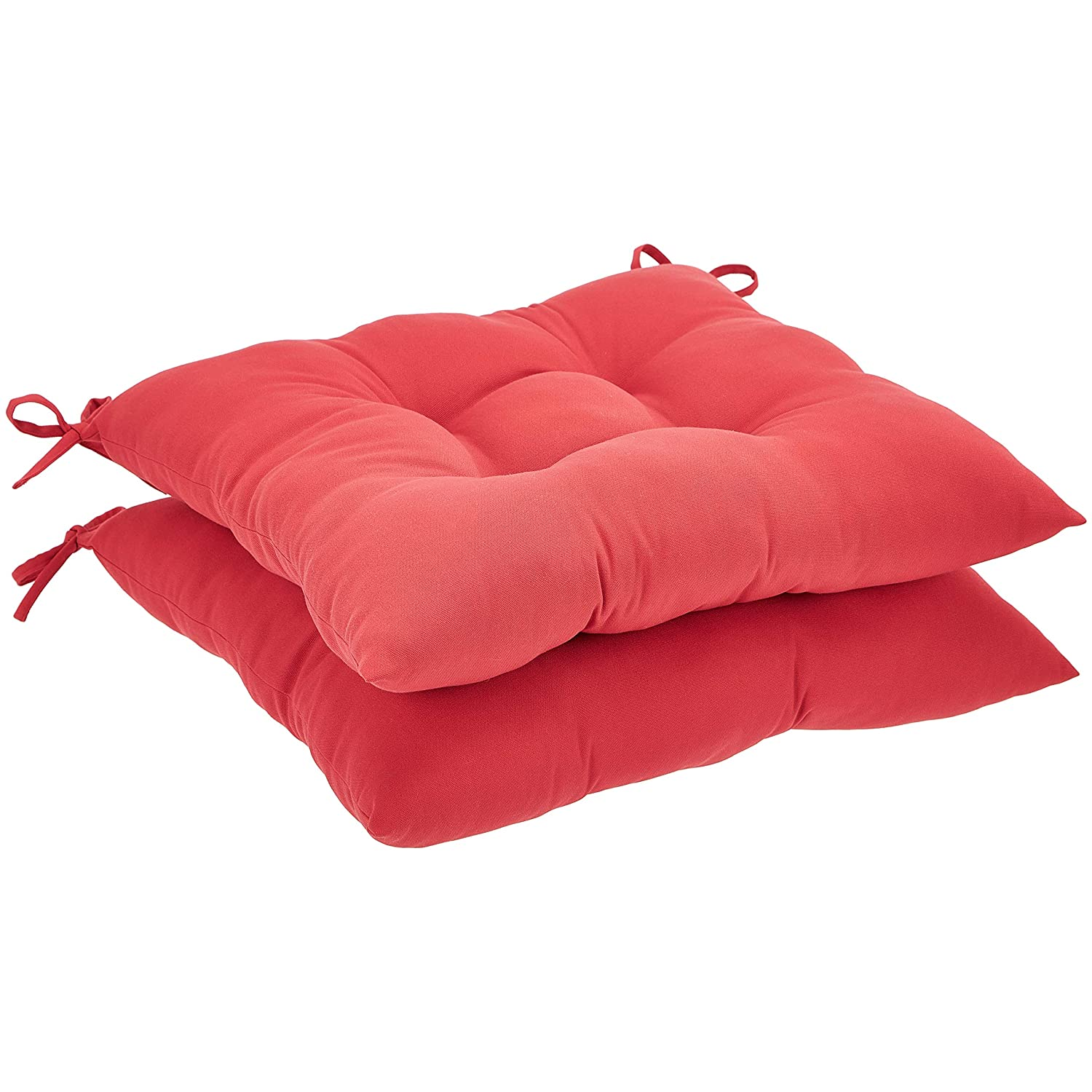 AmazonBasics Tufted Outdoor Square Seat Patio Cushion - Pack of 2, Red