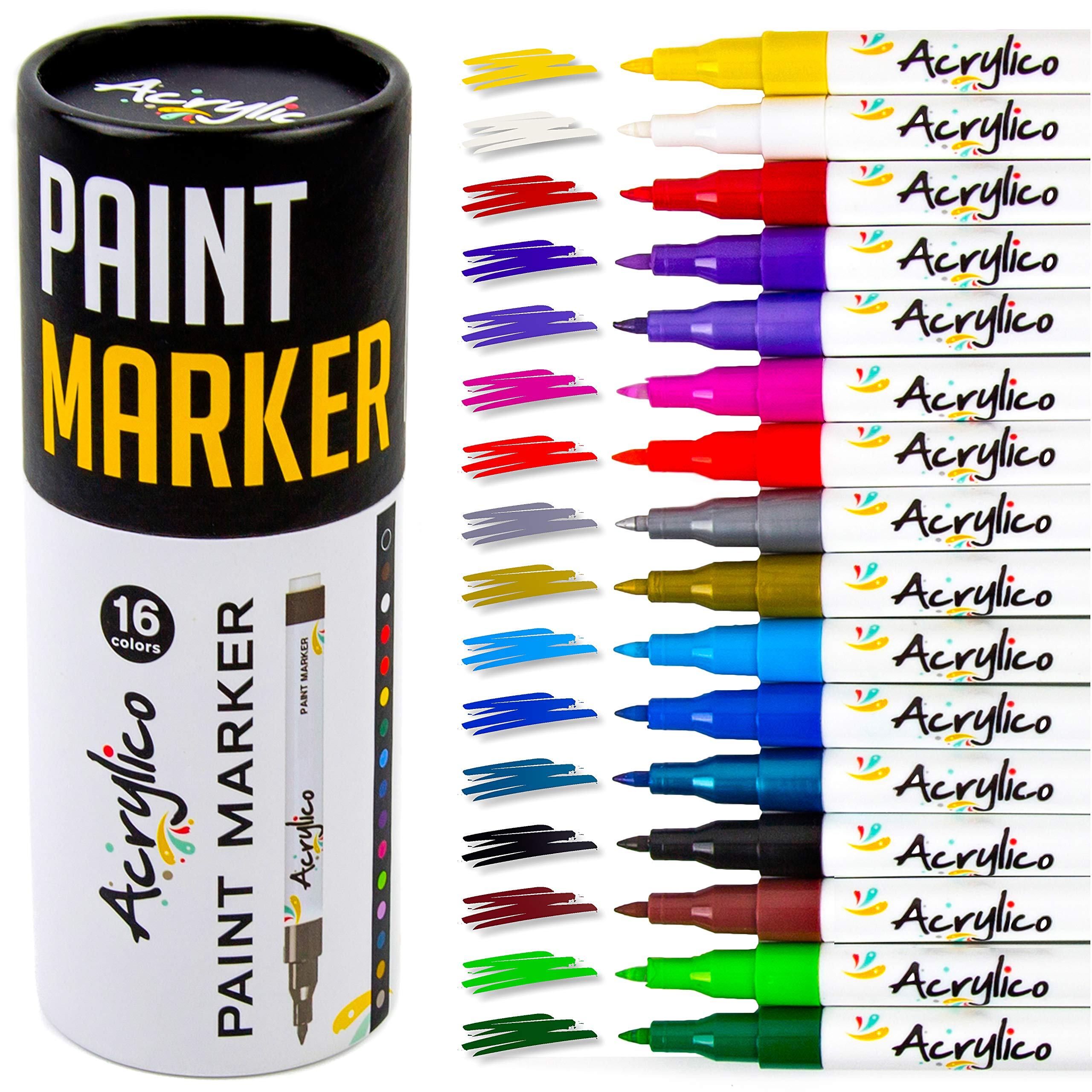 Acrylico Markers Multi Surface Premium Pack | Set of 16 Vibrant Colors Acrylic Paint Pens | Extra-Fine Tip, Opaque Ink, Non-Toxic by Acrylico Markers