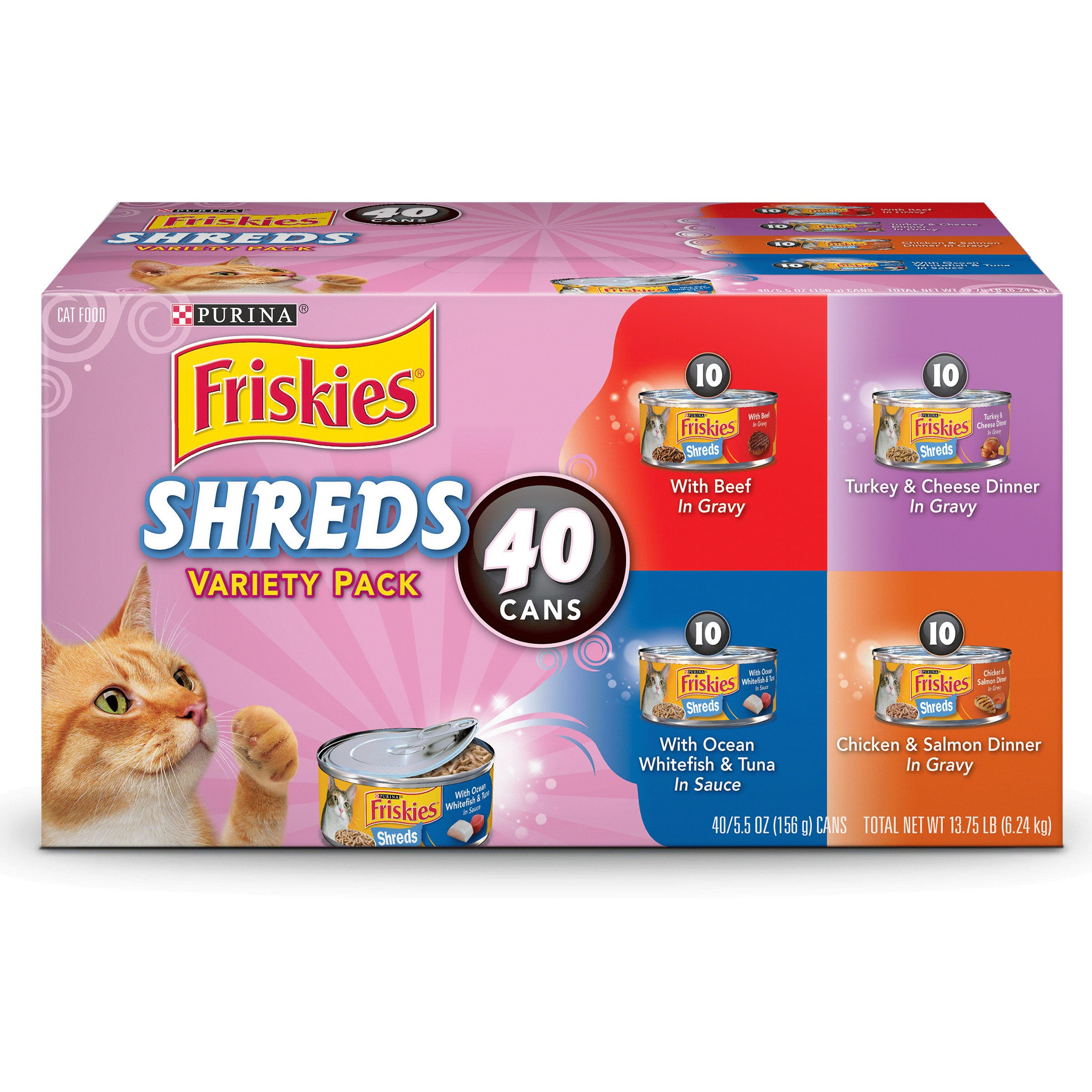 Purina Friskies Shreds in Gravy Adult Wet Cat Food Variety Pack - Forty (40) 5.5 oz. Cans