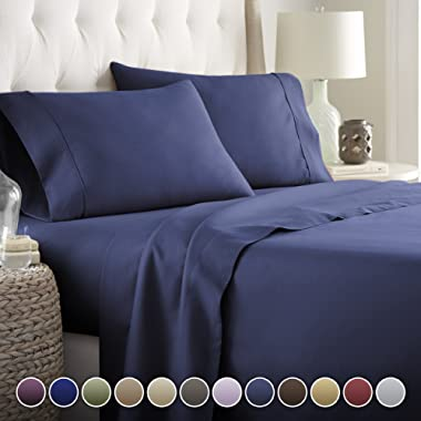 Hotel Luxury Bed Sheets Set- 1800 Series Platinum Collection-Deep Pocket,Wrinkle & Fade Resistant (Queen,Navy Blue)