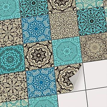 Fliesen Deko Fliesenaufkleber für Küche u. Bad I Fliesenfolie  Fliesensticker Klebefliesen Mosaikfliesen Dekorfolie I 10x10 cm - Motiv  Marokkanisch - ...