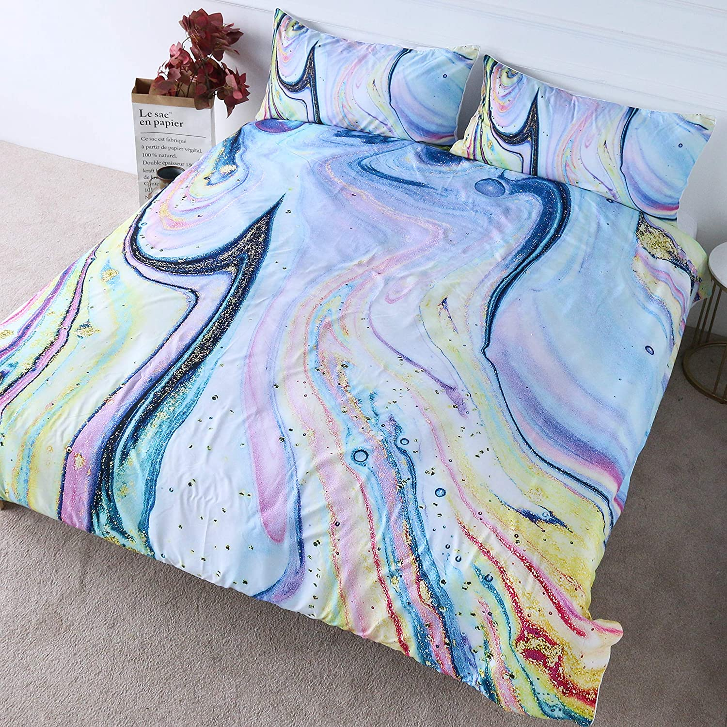 BlessLiving Liquid Colorful Marble Bedding Set Abstract Rainbow Quicksand Duvet Cover 3 Pieces Girl Pink Blue Aesthetic Bed Covers (Twin)