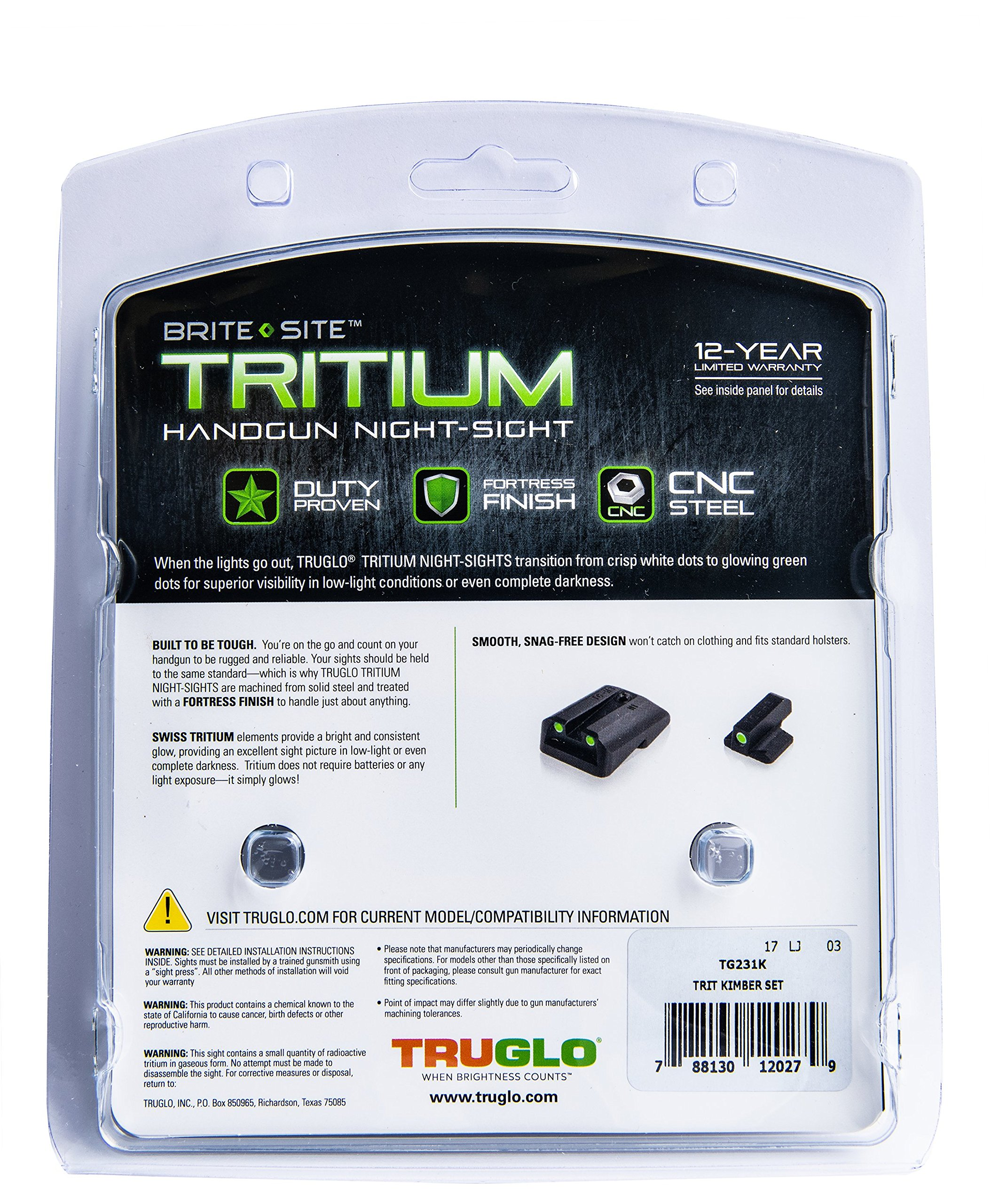 TRUGLO Tritium Handgun Glow-in-the-Dark Night Sights for Kimber Pistols, Kimber 1911 Models with Fixed Rear Sight by TRUGLO (Image #5)