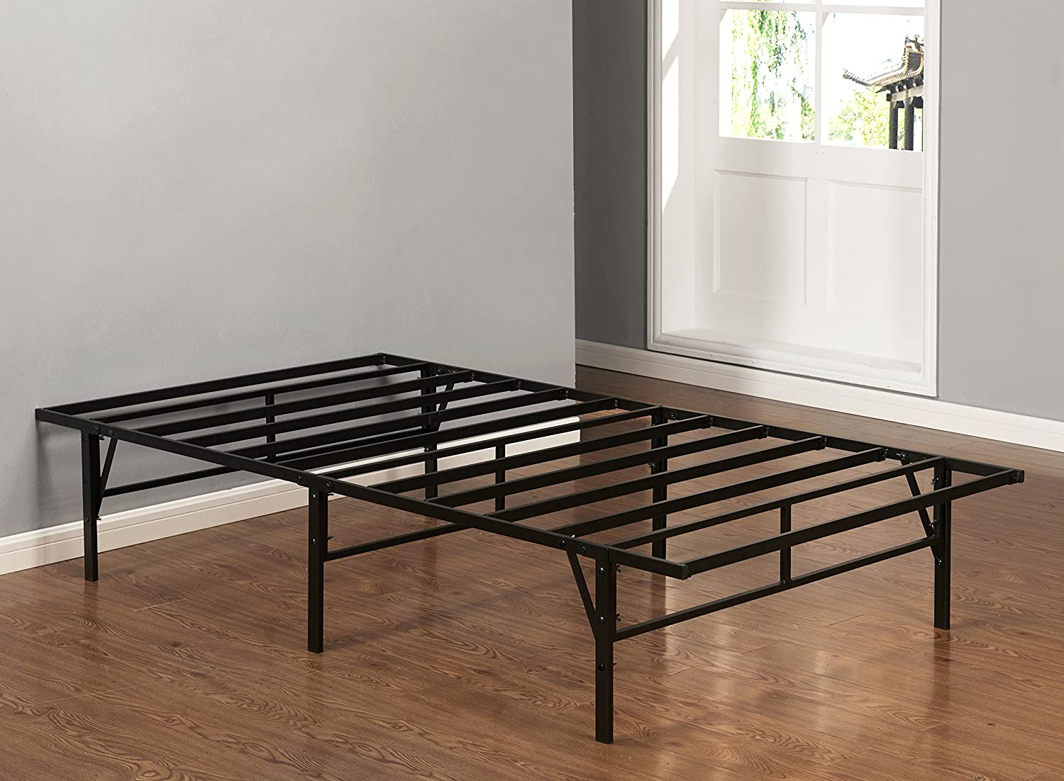 Kings Brand Furniture Platform Bed Frame Mattress Foundation Box Spring Replacement, Twin