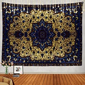 Shrahala Round Mandala Blue Grey Tapestry, Persian Moroccan Middle Eastern Flower Wall Hanging Large Tapestry Psychedelic Tapestry Bedroom Living Room Dorm(39.4 x 59.1 Inches, Blue 5)