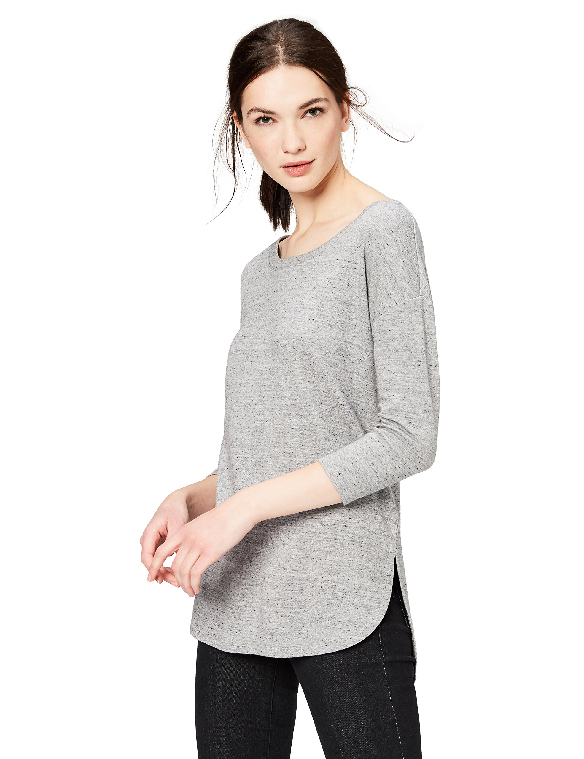 Daily Ritual Women's Pima Cotton and Modal 3/4-Sleeve Scoop Neck Tunic, S, Heather Grey Spacedye