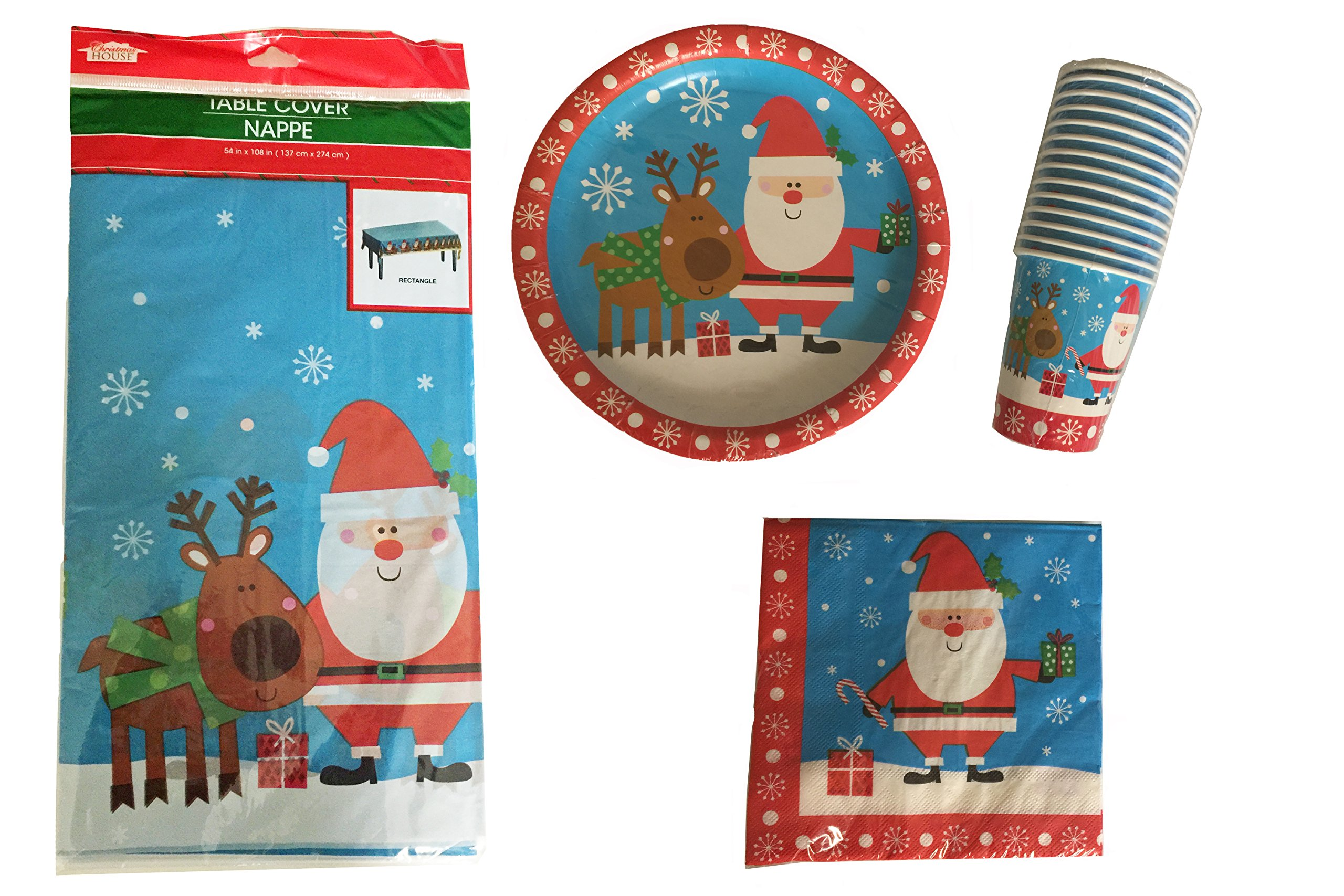 Christmas Holiday Tableware Set, 4 Piece Bundle with Dinner Plates, Napkins, Cups, Tablecloth, Serves 14 (Santa Blue)