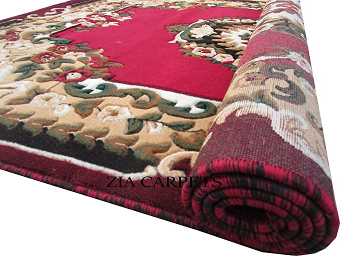 zia carpets 1 Inch Thickness Velvet Touch Acrylic Floor Carpet - 6x8ft, Maroon Carpets at amazon